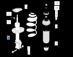 Schokdemper linksvoor voor Fiat en Fiat Professional