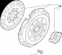 Set koppeling (koppelingsplaat, drukplaat en druklager) voor Alfa Romeo