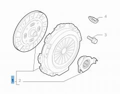Set koppeling (koppelingsplaat, drukplaat en druklager)