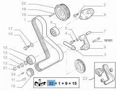Distributiekit (riem, vaste en verstelbare riemspanner) - 3 stuks voor Fiat Professional Ducato