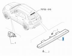 Achterlicht derde remlicht op drager reservewiel voor Fiat 500X