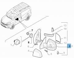 Elektrische rechter buitenspiegel, wegdraaibaar, voor Fiat Professional Doblo