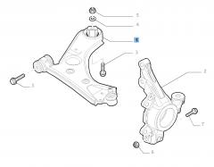 Rechter schommelarm voor voorophanging voor Fiat en Fiat Professional