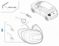 Vast linker achterlicht voor Fiat 500L