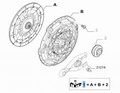 Set koppeling (koppelingsplaat, drukplaat en druklager) voor Fiat Professional Scudo