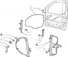 Mechanische raamopener rechtsvoor voor Fiat en Fiat Professional