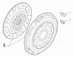 Set koppeling (koppelingsplaat en drukplaat) voor Fiat en Fiat Professional