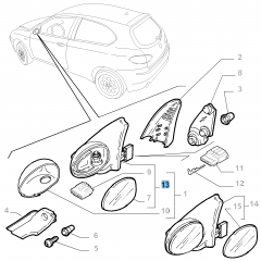 Rechter buitenspiegel, elektrisch, voor Alfa Romeo 147
